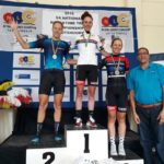 Carla Oberholzer pictured here atop the podium after she won the SA National Road Champs road race today. Maroesjka Mathee in second and Lynette Burger in third. Photo: Supplied