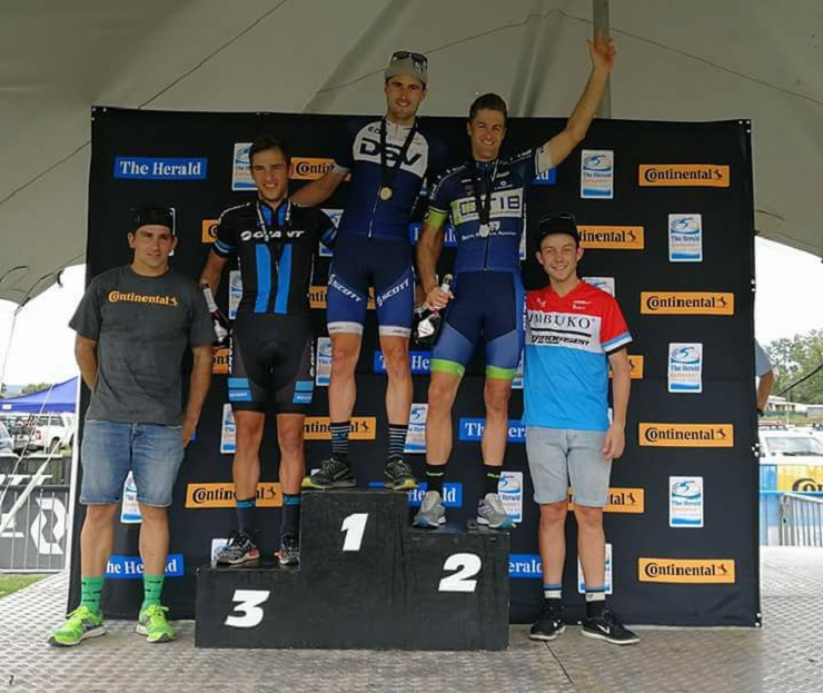 Gert Heyns, pictured here atop the podium, won his second race in as many weeks with a victory at the Herald Cycle Tour MTB Race yesterday. Photo: Supplied