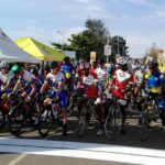An image of the start of the junior men road race at the 2018 African Continental Road Championships.
