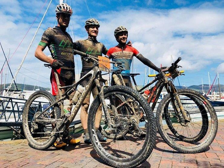 Insect Science pair Alan Gordon and Timothy Hammond and Dylan Rebello after the final stage of the Knysna Bull today. Photo: Knysna Bull