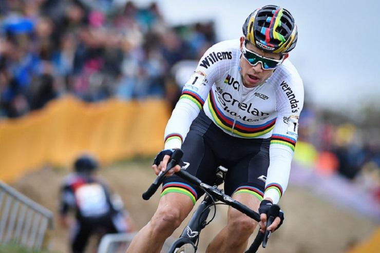 Wout van Aert won his third consecutive world tour title at the UCI Cyclo-cross World Championships today. Photo: BELGA