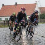Ashleigh Moolman-Pasio pictured during the rain-soaked Dwars door Vlaanderen in Belgium yesterday. Photo: Velofocus
