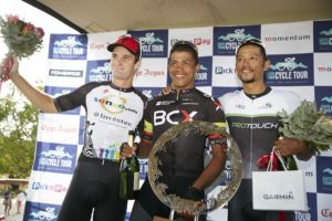 Sam Gaze (left) claimed second place on the day, while Nolan Hoffman won the race, and Reynard Butler placed third at the Cape Town Cycle Tour