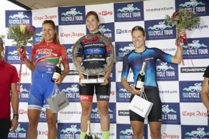 Team dormakaba's Vera Adrian (left) claimed second on the day, while Kim le Court won, and Maroesjka Matthee finished in third at the Cape Town Cycle Tour