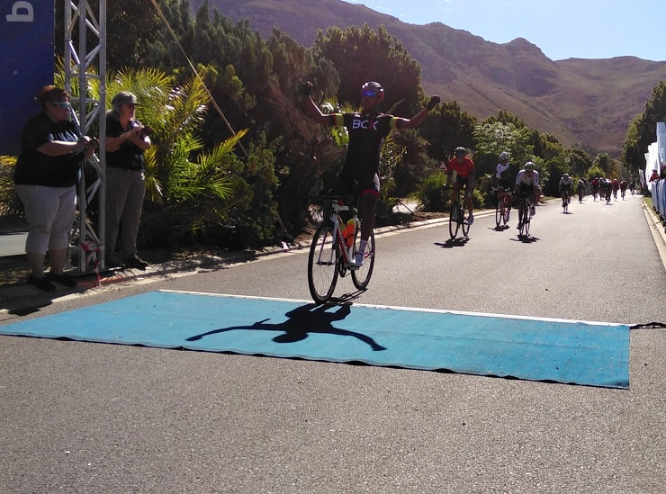BCX's Nolan Hoffman pictured winning stage one of the Tour of Good Hope in Paarl today. Photo: Tour of Good Hope