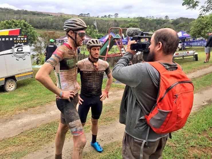 Declan Sidey (left) and Shaun-Nick Bester won the men's team category on stage two of the PE Plett today. Photo: Silverback Bikes
