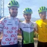Stefan de Bod (right) won the overall Tour of Good Hope after coming second in the fifth and final stage behind teammate Matteo Sobrero (middle). DiData's Kent Main (left) came third and second overall. Photo: Tour of Good Hope