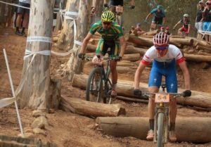 A picture of two riders at the opening leg of the 2018 UCI Mountain Bike World Cup.