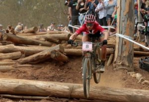 Annika Langvad in action at opening leg of the 2018 UCI Mountain Bike World Cup.