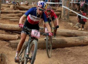 Elite women's race at opening leg of the 2018 UCI Mountain Bike World Cup.