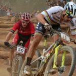 Nino Schurter (front) and Sam Gaze at 2018 UCI Mountain Bike World Cup in Stellenbosch.