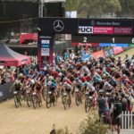 The elite men's field pictured shooting off for their race at the UCI Mountain Bike World Cup in Stellenbosch. Photo: Shannon Valstar