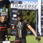 Bryce Munro (left) and Andrew Stockwell pictured after their stage one victory of the Cradle Traverse today. Photo: ZC Marketing Consulting