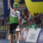Ben O'Connor pictured winning stage two of the Tour of the Alps in Italy today. Photo: Pentaphoto/Tour of the Alps