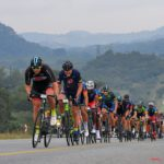 The leading bunch in action on stage two of the Panorama Tour.
