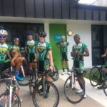 Nolan Hoffman (left) posing alongside his Team South African teammates ahead of the Commonwealth Games road-race in Gold Coast tomorrow. Bosseau Boshoff