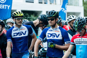 Gert Heyns (left) and Arno du Toit start of stage two 2018 Winelands Encounter