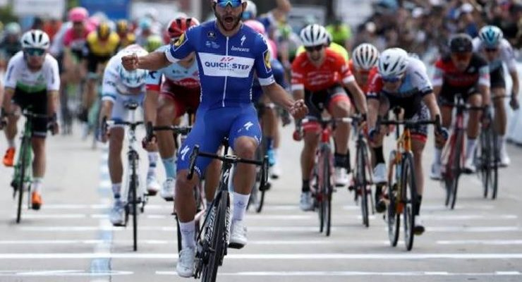 Quick-Step Floors' Fernando Gaviria won the 134.5km first stage of the Tour of California in Long Beach. Photo: Getty Images