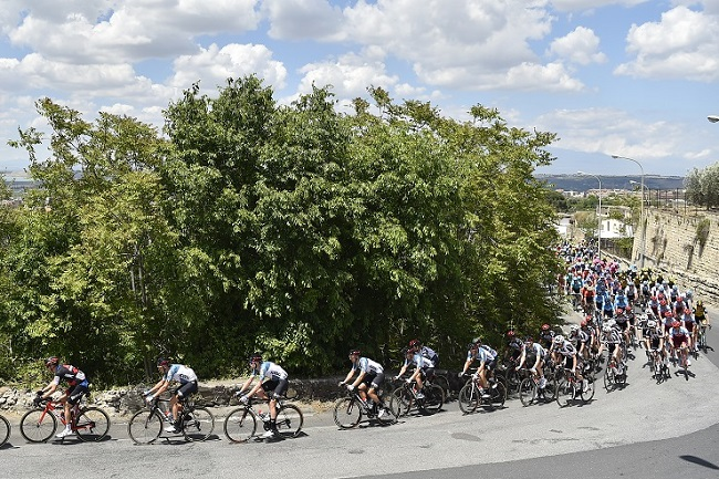 A group of cyclists in action during stage four of the Giro d'Italia