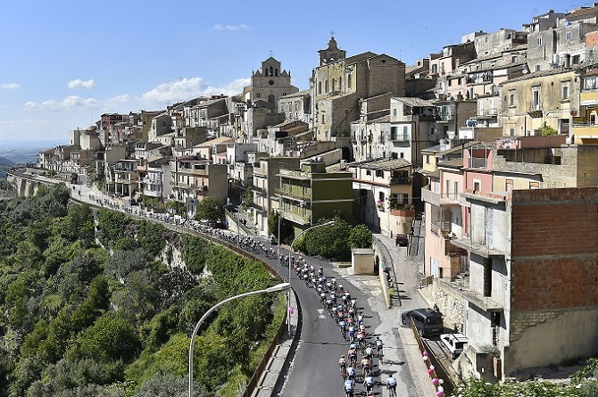 The peloton in action during stage four of the Giro d'Italia that finished in Caltagirone.