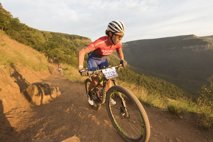 Winning women's pair, Samantha Sanders (front) and Amy McDougall during the second day of the sani2c Race. Photo: Anthony Grote