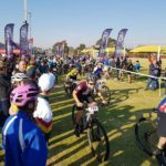 Young mountain bikers in action during the first event in the Schools MTB League series in Vereeneging today