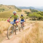 Elite women winning pair Samantha Sanders and Amy McDougall in action during the sani2c Race. Photo: Anthony Grote