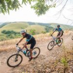 Riders coasting on the edge of a hill during the sani2c Race. Photo: Anthony Grote