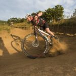 Spectacular close up of a rider slipping through a bend in the sani2c Race. Photo: Anthony Grote