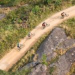 Great aerial shot of riders labouring up a climb during the sani2c Race. Photo: Anthony Grote