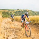 DSV's Gert Heyns and Arno du Toit, who finished second overall, making their way up a climb during the sani2c Race. Photo: Anthony Grote