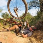 Close up of a rider taking a fall during the sani2c Race. Photo: Anthony Grote