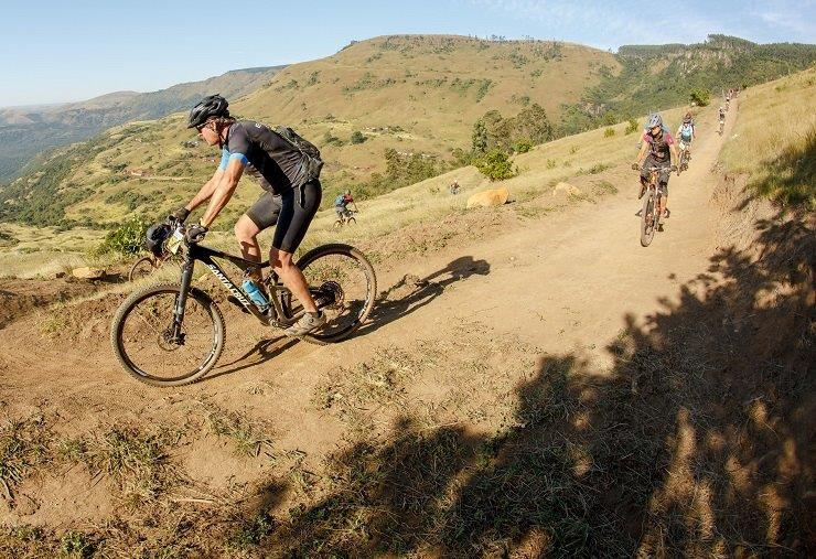 Brandon du Plessis and Jaco van Vuuren won the 82km third stage and with it the overall title of the sani2c Trail today. Photo: Maryann Shaw/sani2c