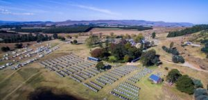 An aerial view of the race village at the sani2c Race