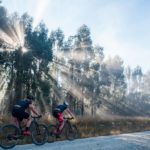 Riders on an open gravel road during day one of the sani2c Race