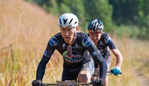 Barend Burger and Gawie Combrinck on day one of the sani2c Race