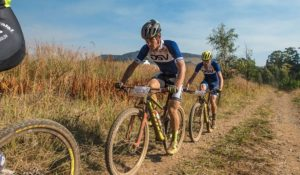 Gert Heyns and Arno du Toit finished second on day one of the sani2c Race.