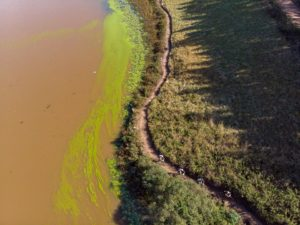 Mountain bikers pass a large dam on day two of sani2c Trail