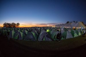 A view of the tents that riders sleep in during sani2c Trail.