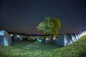 A view of the tents that riders are sleeping in during sani2c Trail