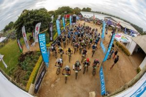 Riders line up for the start of the final day of the sani2c Trail