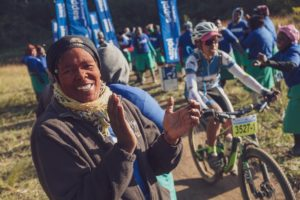 Spectators cheer on the riders during day two of sani2c Trail
