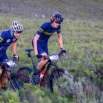 Riders pushing through a heavy fynbos section in stage two of the Greyt Escape. Photo: Oakpics.com