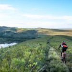 Rider taking on a single track along a spectacular plain with a great view during stage two of the Greyt Escape. Photo: Oakpics.com