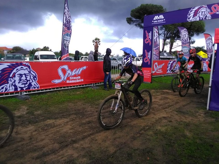 Youngsters in action during the first round of the Schools MTB League
