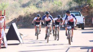 HB Kruger, Regis Maniora, Pieter Seyffert and Hanco Kachelhoffer sprint for the finish on day two of the Liberty Waterberg Encounter