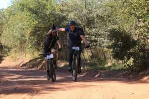 Giving a high five to each other on stage one of the Liberty Waterberg Encounter