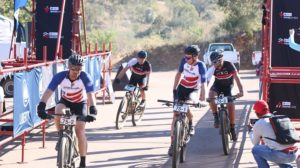 HB Kruger and Regis Maniora cross the finish line first on day two of the Liberty Waterberg Encounter