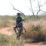 Rider showing off a trick during stage three of the Waterberg MTB Encounter. Photo: Gerrie Kriel / Twin Productions SA