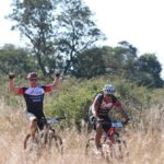 Rider displaying elation and enjoyment during stage three of the Waterberg MTB Encounter. Photo: Gerrie Kriel / Twin Productions SA